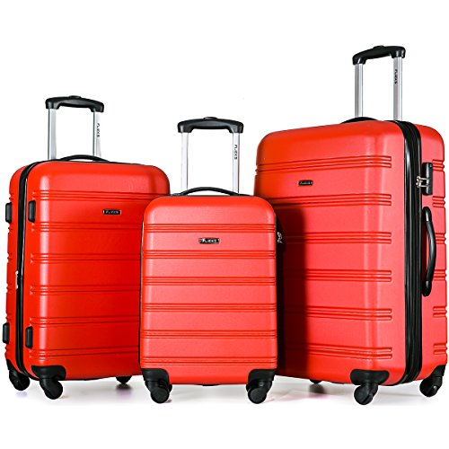 Maleta de equipaje Flieks® rígida, ruedas gemelas, con candado de cifras, equipaje de mano con ruedas dobles XL-L-M (set rojo)