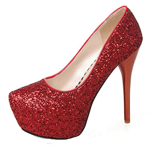 YE Stiletto High Heel Geschlossen Pumps mit Pleateau Glitter Pailletten Elegante Party Schuhe Rot