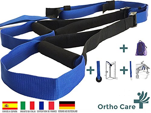 OrthoCare S Fitness Trainer Suspension Trainer Sangles Functional/Fitness Trainer. multifonction Kit Renforcement, force musculaire et development musculaire. Avec Ancre de porte et sac de transport pratique.