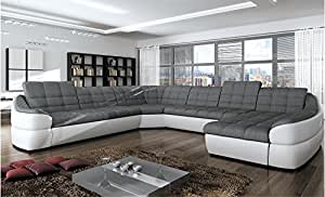 bmf infinity xl white grey 6 seater extra large faux leather fabric u shape corner sofa bed. Black Bedroom Furniture Sets. Home Design Ideas