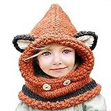 URAQT Otoño Invierno tejidos Zorro Sombreros Bufandas Chales Cofia capucha gorra para Niños Niñas Chicas chicos