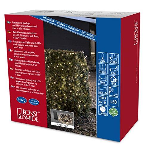 Konstsmide 3730-100 Guirlande d'Eclairage Extérieur sur Pile avec Interrupteur 240 LEDs Blanc Chaud Câble Noir