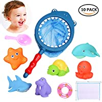 ALANGDUO Baby Bath Toys with Fishing Net, Bath Squirt Animals Water Floating Animals Fishing Game Toys Set + 1 Toys Storage Mesh Bag, Baby Shower Bath Fishing Squeaky Toys 10 Pcs(PINK)