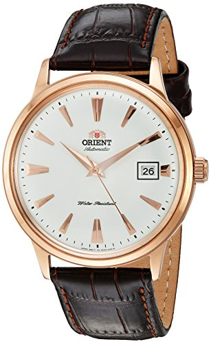 Orient Men's '2nd Gen. Bambino Ver. 1' Japanese Automatic Stainless Steel and Leather Dress Watch, Color:Brown (Model: FAC00002W0)
