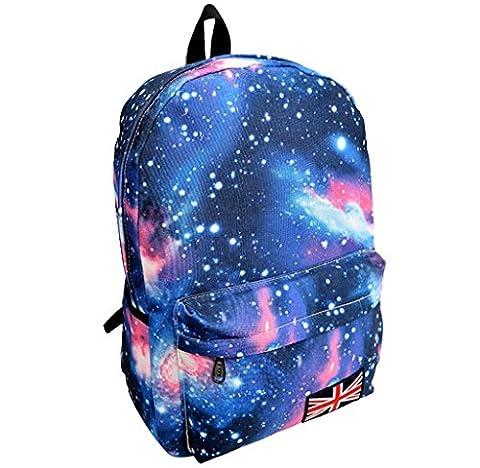 Rcool Unisex Galaxy Muster Reise Rucksack Canvas Freizeit Taschen Schultasche (Blau)