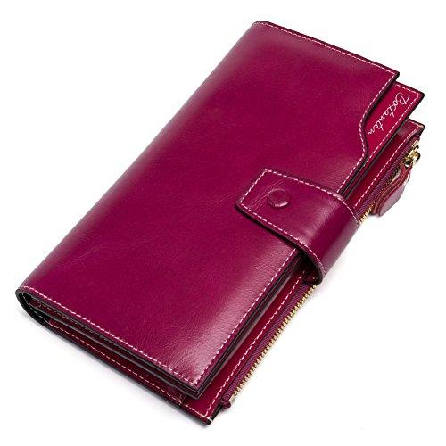 BOSTANTEN Portefeuille Cuir Véritable Femme Zippé Porte-monnaie Compagnon Longue Fille Rose Rouge