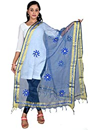 Fashion Store Tissue Mirror Work Party Wear Dupatta,chunni,stole,scarves(Length:99 Inche,Blue)