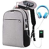 HMONSTER zaino del computer portatile di moda College boy ragazza password blocco anti-furto di scuola con un jack per cuffie Business travel backpack, Gray