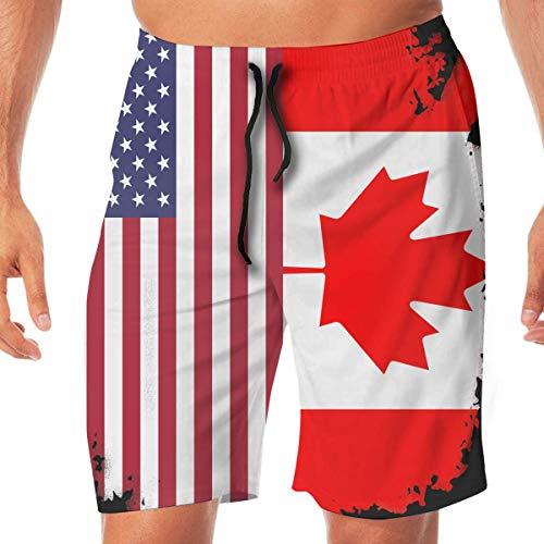 sheho Herren Sommer Quick Dry Badehose Kanada Flagge Amerikanische Flagge Druck Board Shorts, Beachwear Sport Laufshorts mit Taschen Größe L
