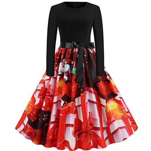 Briskorry Damen Weihnachten Kleider Langarm Weihnachtskleid Vintage Hepburn Cocktailkleid Weihnachten Druck Partykleid A-Linie Swing Kleid Dress