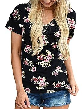 NINGNETI Mujer de Manga Corta Flor Impreso Blusa Casual Tops T Shirt