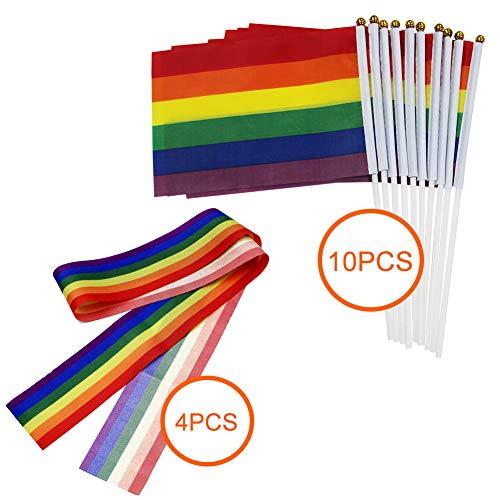 10 pack gay bandiera arcobaleno bandiera pace della lesbica lgbt arcobaleno bandiera banner per orgoglio festival carnevale+4 pack arcobaleno ribbon