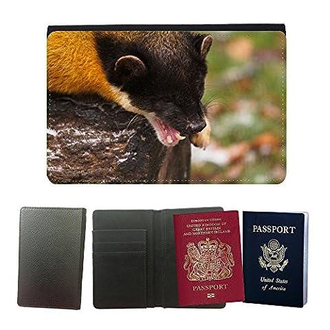 Grand Phone Cases PU Supporto Di Cuoio Del Passaporto Con Slot Per Schede // M00141648 Jaune Throated Marten Marten Animaux // Universal passport leather cover