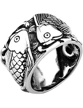 Bishilin Silber Jahrgang Carp Fisch Männers Edelstahl Ringe