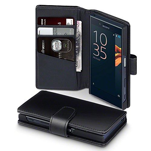 Sony Xperia X Compact Case, Terrapin [ECHT LEDER] Brieftasche Case Hülle mit Kartenfächer und Bargeld für Sony Xperia X Compact Hülle Schwarz