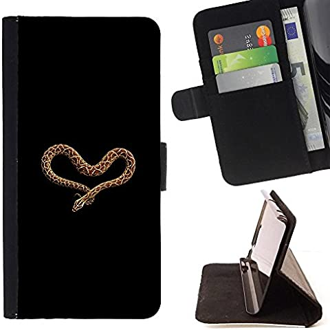 Pelle Portafoglio Custodia protettiva Cassa Leather Wallet Case for LG K10 / CECELL Phone case / / heart love snake anaconda black brown /