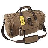 Fafada Reisetasche Herren Damen 40L Canvas Handgepäck Sporttasche Erweiterbare Großräumige Handtasche Schultertasche Braun