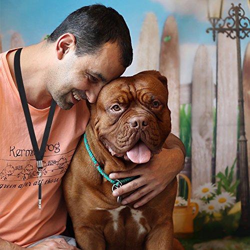 GHB Ultraschall Hundepfeife Whistle für Hunde Training Haustier Training Frequenz einstellbar Inklusive Umhängeband und Hundeclicker Schwarz - 6