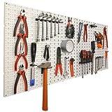 Panneaux muraux de rangement pour outils + crochets - Gris - 1.5 cm