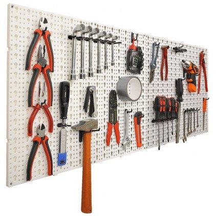 Panneaux muraux de rangement pour outils + crochets - Gris