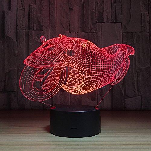 LT&NT Lampe 3D Locomotive Illusion d'Optique LED Lights Table Lampe Nuit lumière 7 Couleurs changeant USB Touch noël Cadeaux d'Anniversaire pour Les Enfants -Toucher