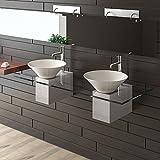 Alpenberger Keramik Waschbecken/Designer Waschtisch/Möbel aus Glas Serie 200 / Keramik - Klarglas Waschplatz/Doppelwaschbecken / Handwaschbecken
