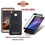 #9: Mi 4 / Redmi 4 / Redmi4 / Mi4 (COMBO OFFER) Hybrid Armor Design Detachable and Kickstand Feature Dual Layer Protective Shell Hard Back Cover Case Mi Redmi 4 [May 2017 Launch] ( Black ) + 2.5D curved 3D Edge to Edge Full Screen Tempered Glass Mobile Screen Protector - - - ( Black ) BY shoppingmonk