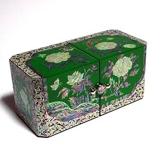 Antique Alive Jewellery Box Schmuckschatulle mit Pfingstrose-Motiv, Perlmutt/Holz, Lackiert, Asiatisch, Blau
