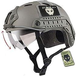Tactique SWAT style militaire de l'armée Type de PJ de Casque Combat rapide FG feuillage vert avec lunettes pour CQB Tir Airsoft Paintball