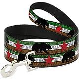 Buckle Down dl-6ft-w35505-n Pet Leash-cali Bär Silhouette & Star/California Republic grün/weiß/braun/schwarz/rot, 6'L/5,1cm W