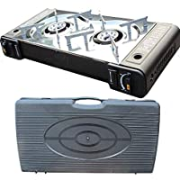 PROGEN Portable Camping Twin Gas Cooker Piezo ignition Stove Burner Portable BBQ Outdoor with Carry Case