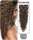 Remy Clip In Extensions Echthaar Lockig 20''(50cm) Haarverlängerung 7 teilig 70g Kastanienbraun #6