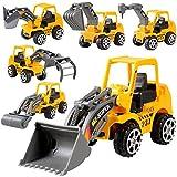 Yukio KinderToys - 6 Stück Baufahrzeuge Spielzeugauto Bagger Sandkasten, Geschenkset für Kinder ab 3 Jahre, Bulldozer, Gabelstapler, Bagger und Straßenwalze