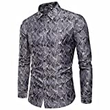 UJUNAOR Herrenhemd Slim Fit Lange Ärmel Camouflage Lässig Button Shirts Formal Top Bluse(L,Grau)