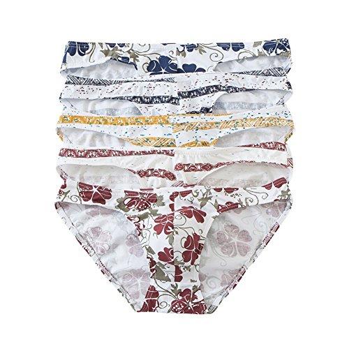 YFD Mens Slips Unterwäsche Low Rise Höschen Baumwolle Stretch Hip Bikinis Unterhose 5er Pack (EU Small/with Tag M) -