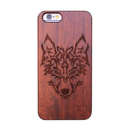 Schale Schnitzen (forepin reg; Naturholz Hülle für iPhone 6/6S 4.7 Zoll,Ultra Dünne Echt Sandelholz und PC Hart Schale im Gravur Schnitzen Muster Elegantes Design Bumper Case Cover - Wolf Carving Muster)