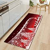 Decdeal Christmas Style Non-Slip Carpet Home Decoration Living Room Kitchen Bedroom Rug Door Sofa Bathroom Mat Christmas Doormat