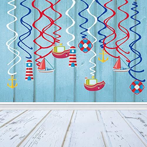 Sayala 30 Stücke Deko-Set *Nautisches Motiv * für Kindergeburtstag und Rosa & Blau-Party //Nautik Dekoration Maritime Party Hanging Deko Kuchendeko (Nautische Geburtstag Party Supplies)