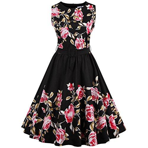 Dissa M1249A18D Robe de bal Vintage pin-up 50's Rockabilly robe de soirée cocktail,S-XXXXL Noir