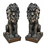 Große Löwen in Antik Bronze-Optik - 2er SET ca 75 cm