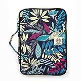 Jakago - Carpeta portadocumentos portátil (A4, impermeable, con cremallera, con asas, para viajes, reuniones, negocios, oficinas, vacaciones), color Dark Blue Leaf