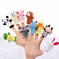 Techson 10 PCS Animal Finger Puppets, Different Cartoon Soft Velvet Dolls Props Toys for Story Time Show Play, Gift for Kids