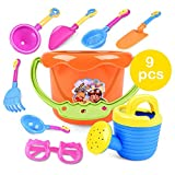HuntGold 9Pcs Plastic/Resin Bucket, Spade, Rakes, Watering Can, Sunglasses Unisex Children Kids Sand Beach Playing Toys Set Random Colors