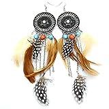 F & F Fashion Western Cowgirl Vintage Big Dream Catcher Federn Coral Türkis Perlen Navajo Zuni Stil Ohrringe