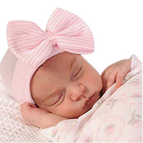 CHIC-CHIC-Bébé Fille Bandeau Elastique Cheveux Florale Oreille Baptême Fête Princesse Déguisement Coiffure Photographie , Cas Crochet Tricoté (0-3 ans) (rose)