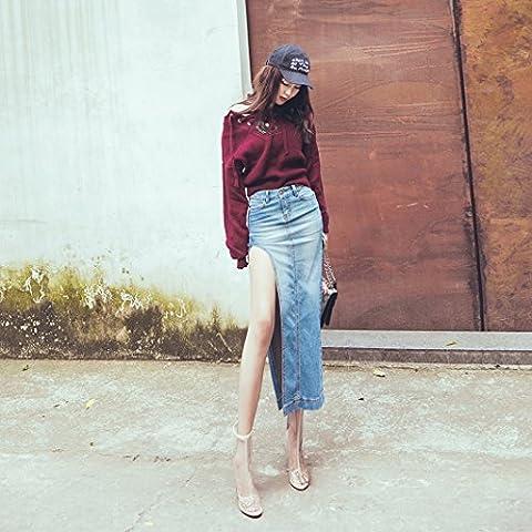 Street sexy side slit skirt in denim long bag hip skirt jeans women,S