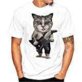 ♚Blusa de los Hombres, Camiseta de la Impresión de la Moda Camisetas de Impresión Camisa de Manga Corta Camiseta Blusa Absolute (S, Negro)