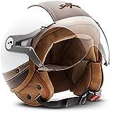 SOXON SP-325-URBAN White · Cruiser Motorrad-Helm Bobber Pilot Vintage Retro Mofa Helmet Biker Vespa-Helm Scooter-Helm Roller-Helm Jet-Helm Chopper · ECE zertifiziert · Leder Design · mit Visier · inkl. Stofftragetasche · Weiß · S (55-56cm)