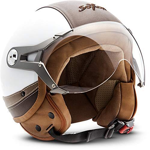 SOXON SP-325-URBAN White · Helmet Bobber Roller-Helm Vespa-Helm Pilot Cruiser Chopper Vintage Scooter-Helm Motorrad-Helm Retro Mofa Jet-Helm Biker · ECE zertifiziert · Leder Design · mit Visier · inkl. Stofftragetasche · Weiß · M (57-58cm) (Vespa Vintage Helm)