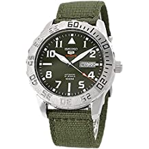 Seiko Sports Auto Military Green Face With Khaki Weave Buckle Strap SRP751J2